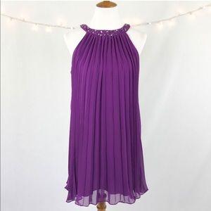 Eliza J Purple Pleated Sequin Dress Size 8